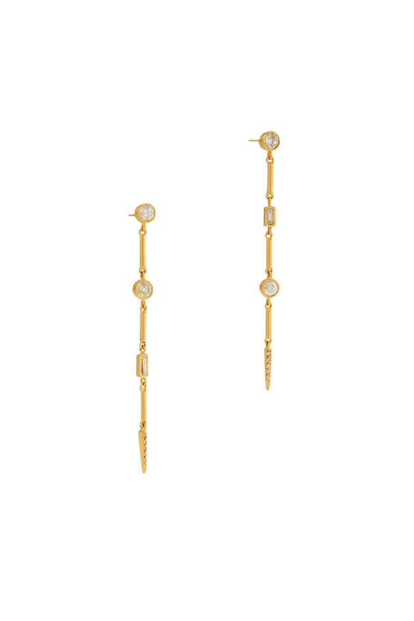 Yossi Harari 24k Yellow Gold Reyna Diamond Bar Earrings