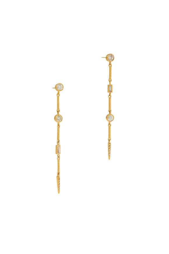 Yossi Harari 24K Yellow Gold Reyna Diamond Bar Earrings
