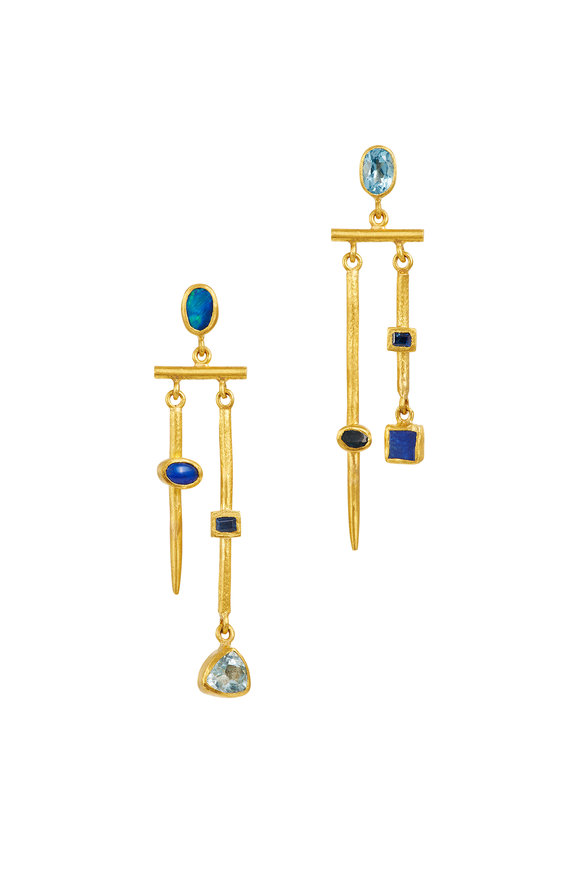 Yossi Harari 24K Yellow Gold Reyna Semi Precious Mix Earrings