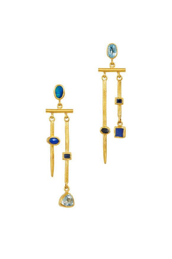 Yossi Harari 24K Yellow Gold Reyna Semi Precious Mix Earrings