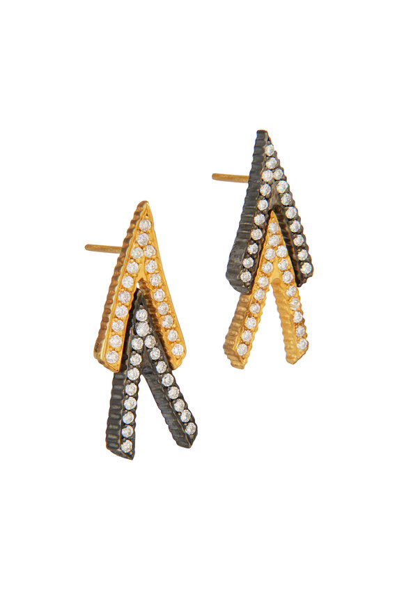Yossi Harari 18K Yellow Gold Lilah Double V Earrings