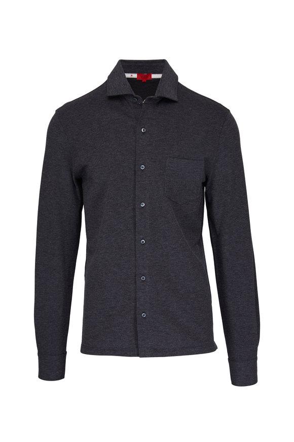 Isaia Charcoal Grey Pique Long Sleeve Polo