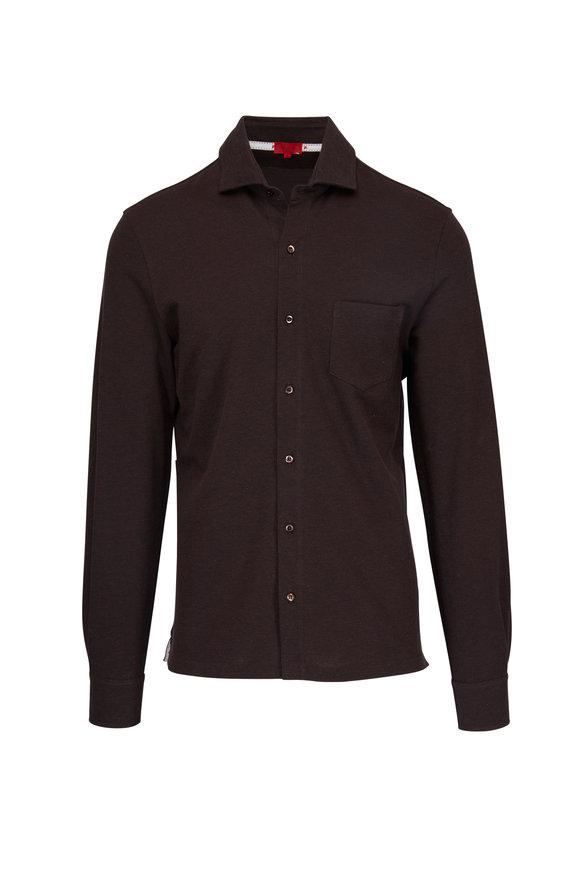 Isaia Brown Cotton Pique Long Sleeve Polo