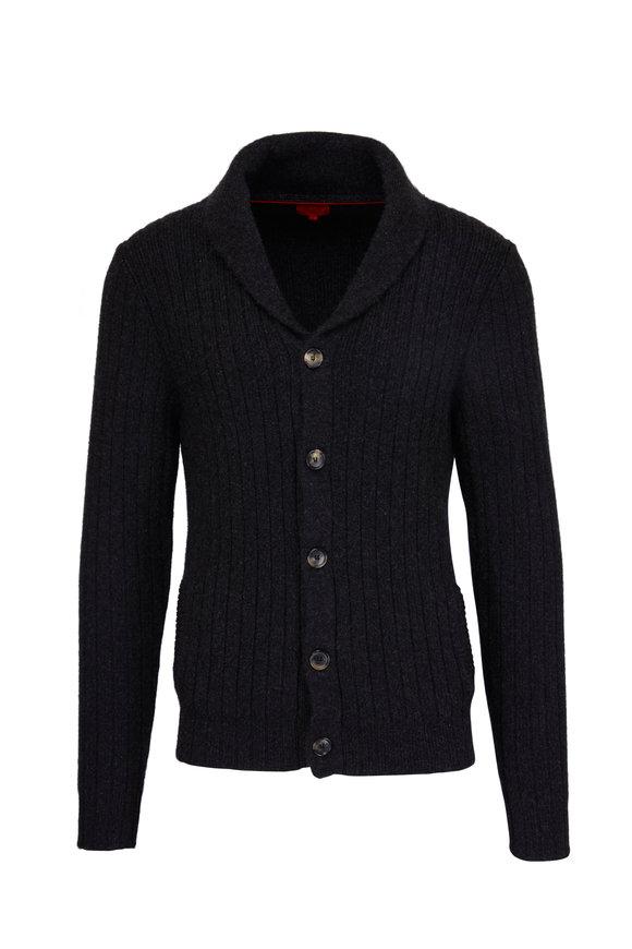 Isaia Charcoal Grey Shawl Collar Cardigan