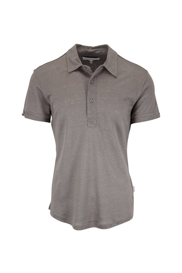 Orlebar Brown Gray Linen Tailored Fit Polo