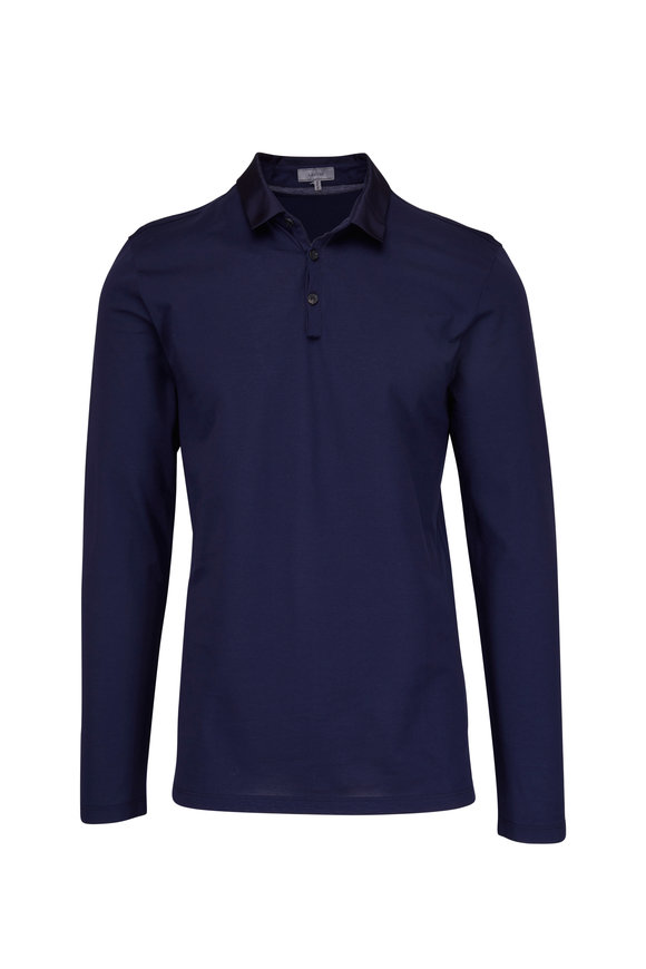 Lanvin Ink Blue Long Sleeve Polo