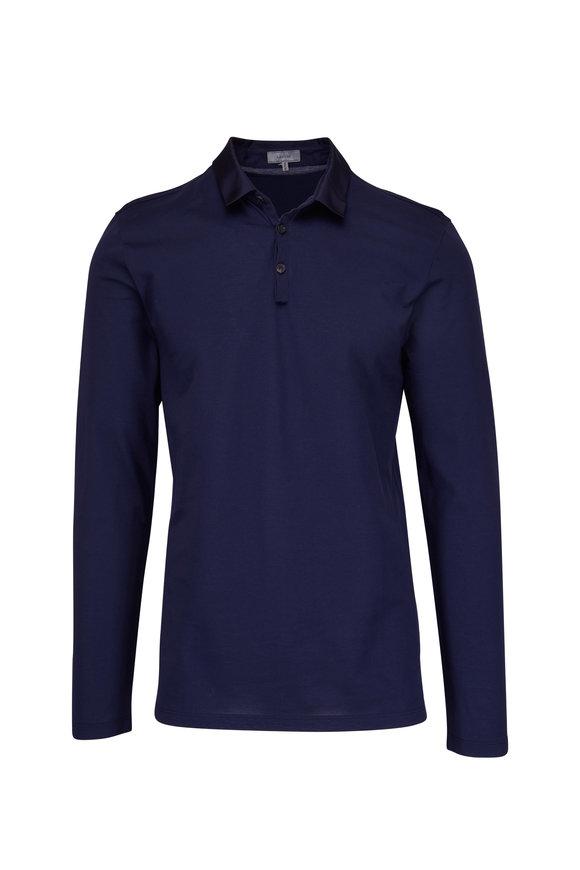Lanvin Ink Blue Long Sleeve Polo