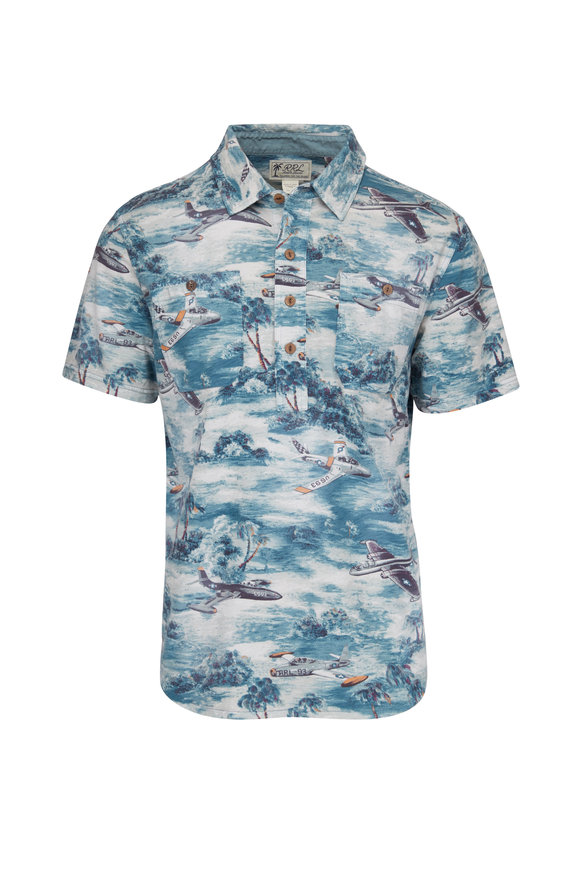 RRL Reliance Blue Military Print Popover Polo