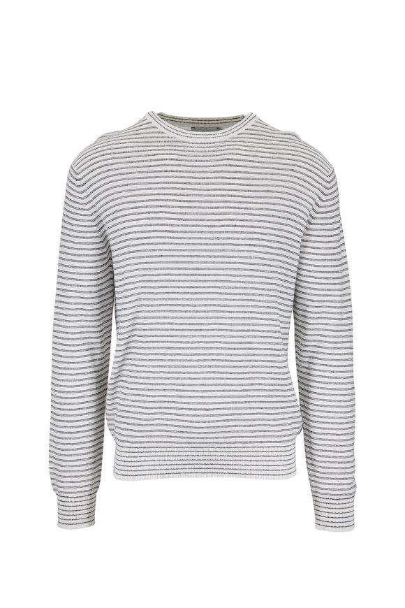 Vince White & Coastal Blue Striped Knit T-Shirt