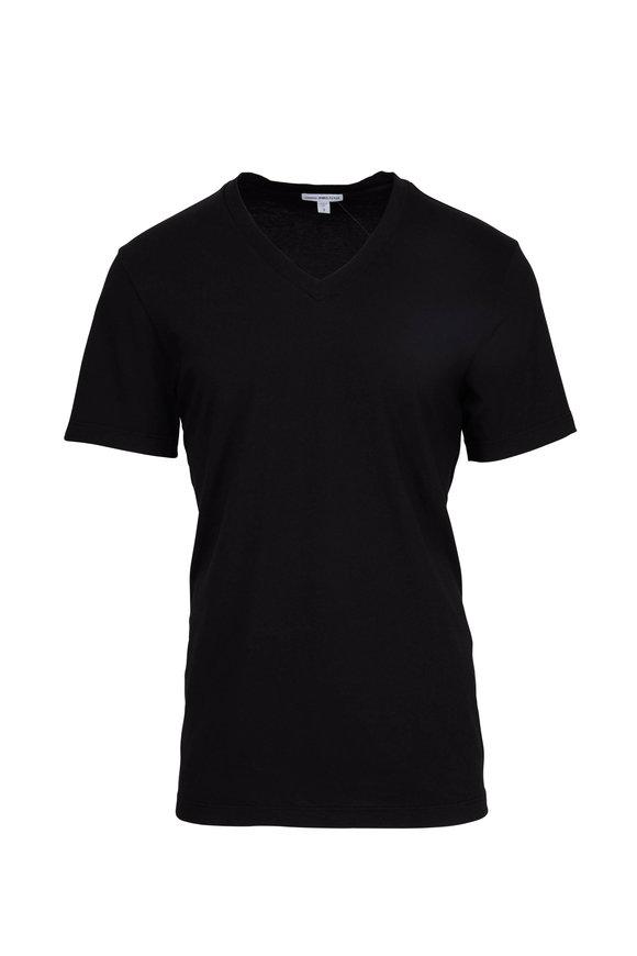 James Perse Black Cotton V-Neck T-Shirt