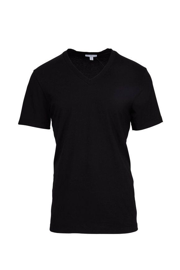 James Perse Black Cotton V-Neck T-Shirt