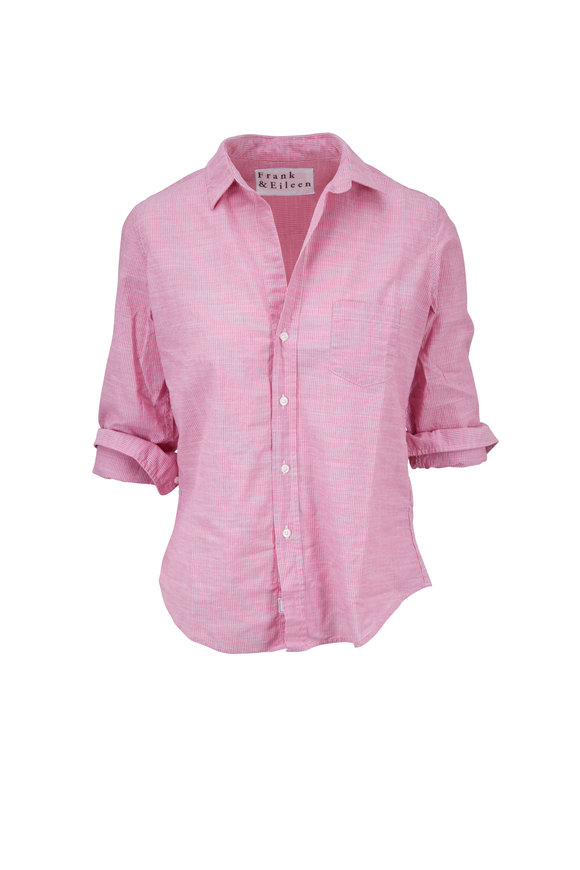 Frank & Eileen Barry Pink & White Striped Cotton Button Down