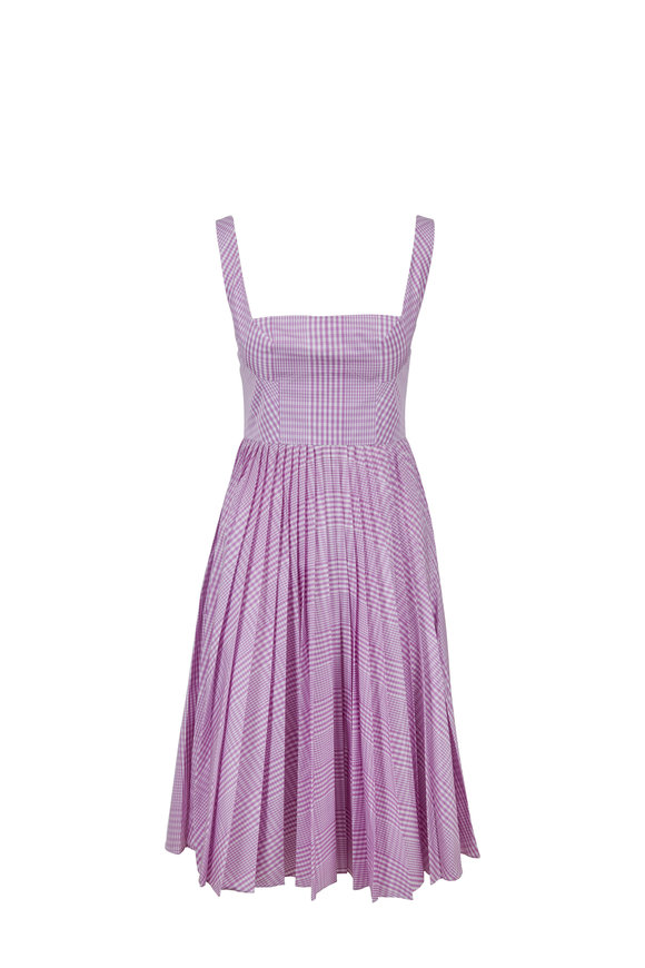 Lela Rose Orchid Pleated Skirt Tank Dress
