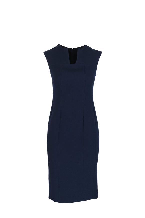 Kiton Navy Blue Wool Sheath Dress