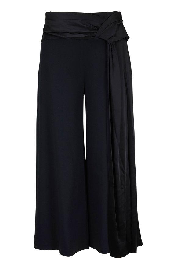 Jonathan Simkhai Black Satin Side Zip Wrap Pant