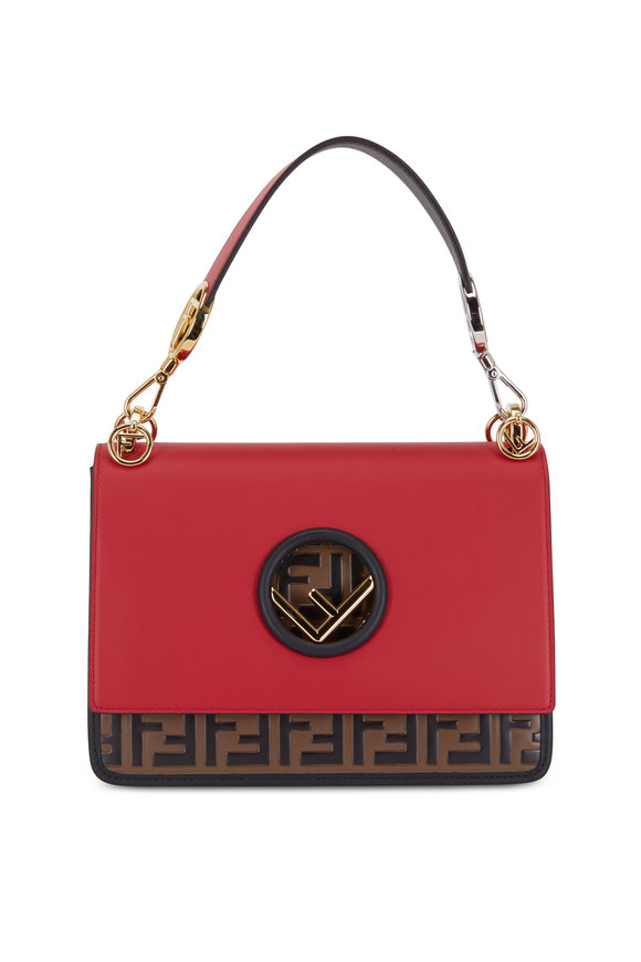 Fendi Kan I Red & Brown Logo Leather Shoulder Bag