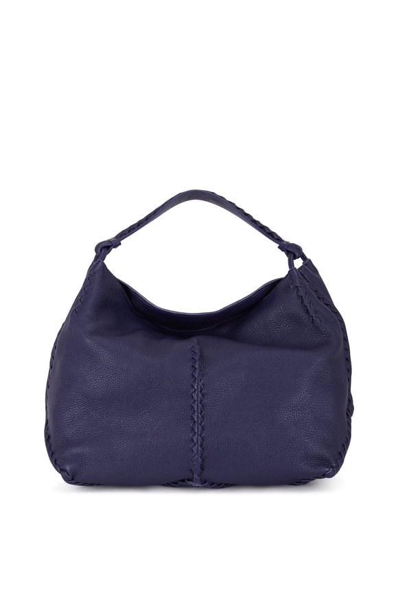Bottega Veneta Dark Blue Leather Braided Detail Large Hobo Bag