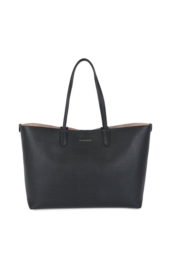 Alexander McQueen Black Embossed Leather Medium Shopper Tote
