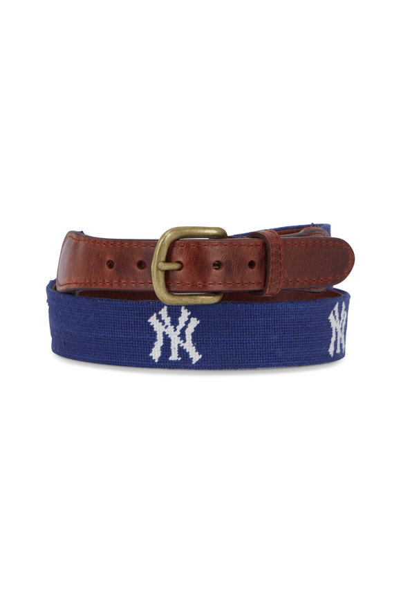 Smathers & Branson Navy New York Yankees Needlepoint Belt