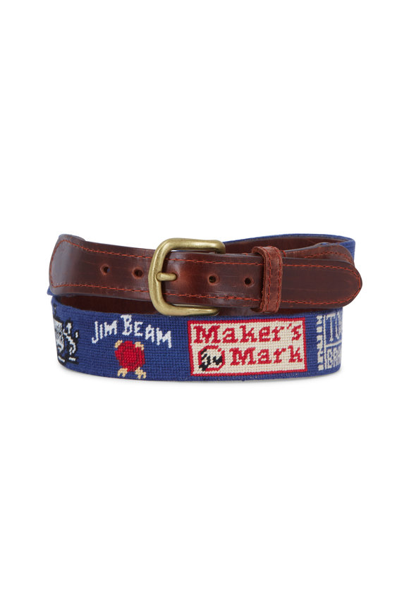 Smathers & Branson Navy Bourbon Trail Needlepoint Belt