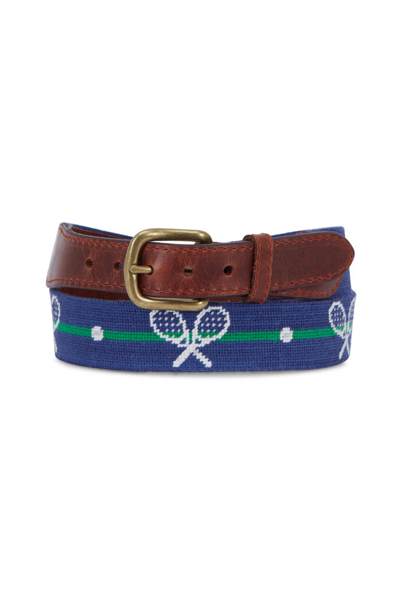 Smathers & Branson Blue Crossed Racquets Needlepoint Belt