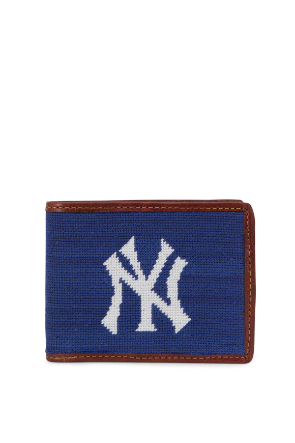 Smathers & Branson Navy New York Yankees Needlepoint Bi-Fold Wallet