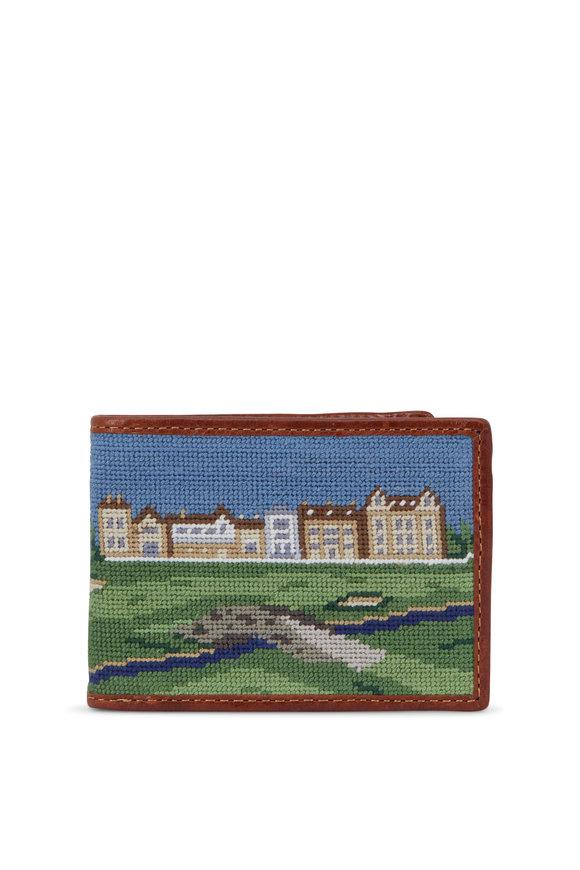 Smathers & Branson Green St Andrews Golf Needlepoint Bi-Fold Wallet