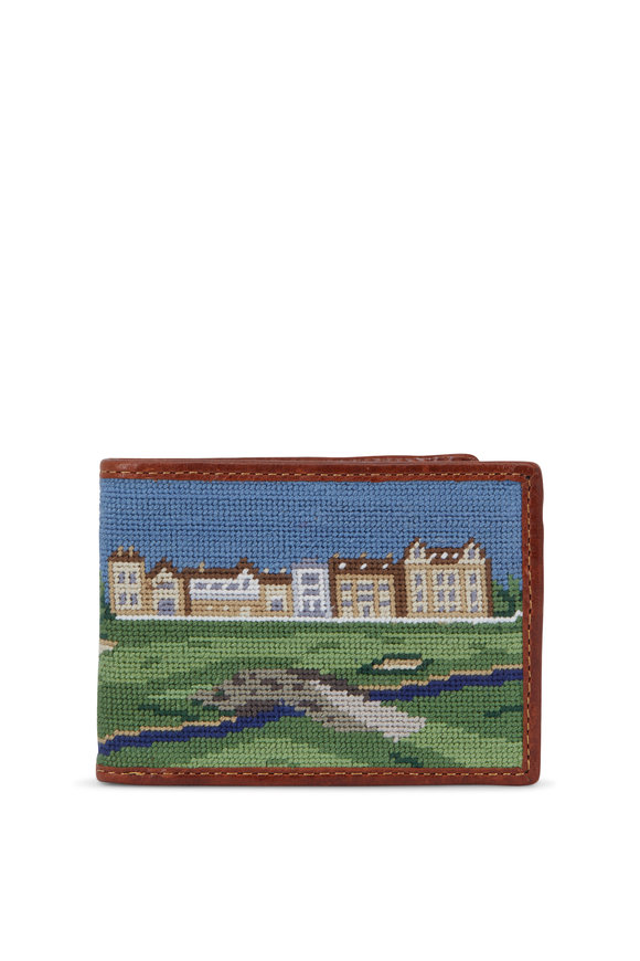 Smathers & Branson Green St Andrews Golf Needlepoint Bi-Fold Wallet