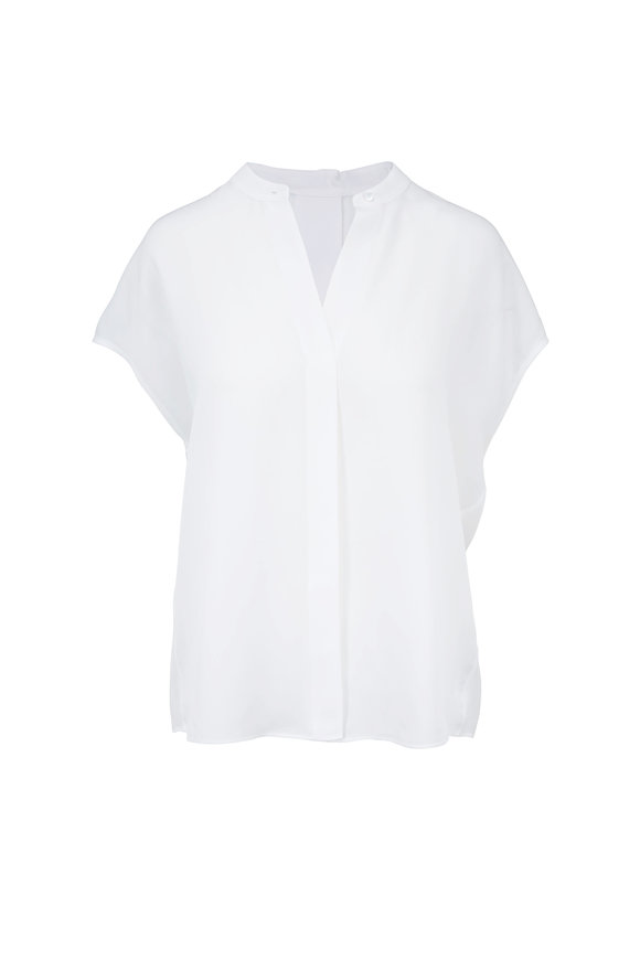 Vince Optic White Silk Back-Slit Popover Blouse