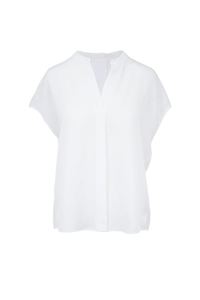 Vince - Optic White Silk Back-Slit Popover Blouse