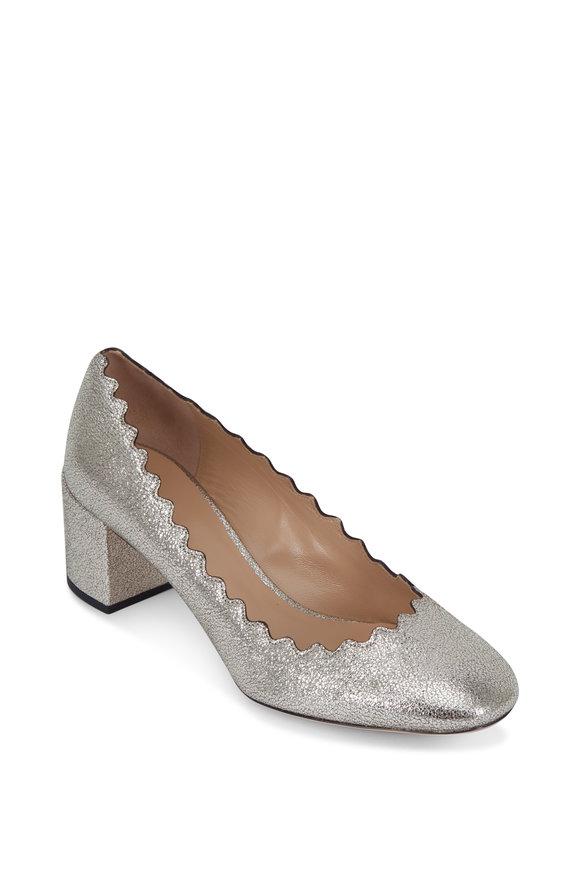 Chloé Lauren Gray Glitter Crackled Leather Pump, 50mm