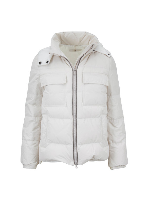 Brunello Cucinelli Exclusively Ours! Oat Taffeta Down Puffer Coat