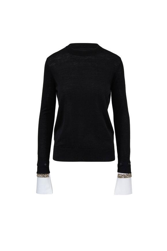 Adam Lippes Black & White Poplin Cuff Sweater