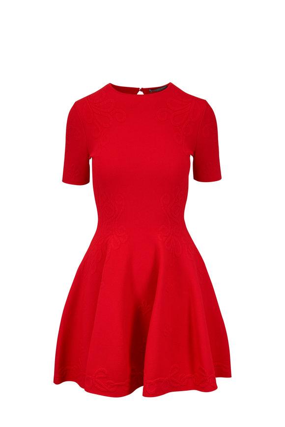 Alexander McQueen Crimson Jacquard Fit To Flare Dress