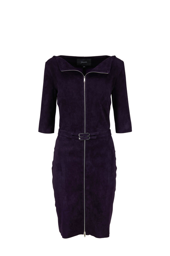 Jitrois Eve Purple Velvet Suede Front Zip Belted Dress