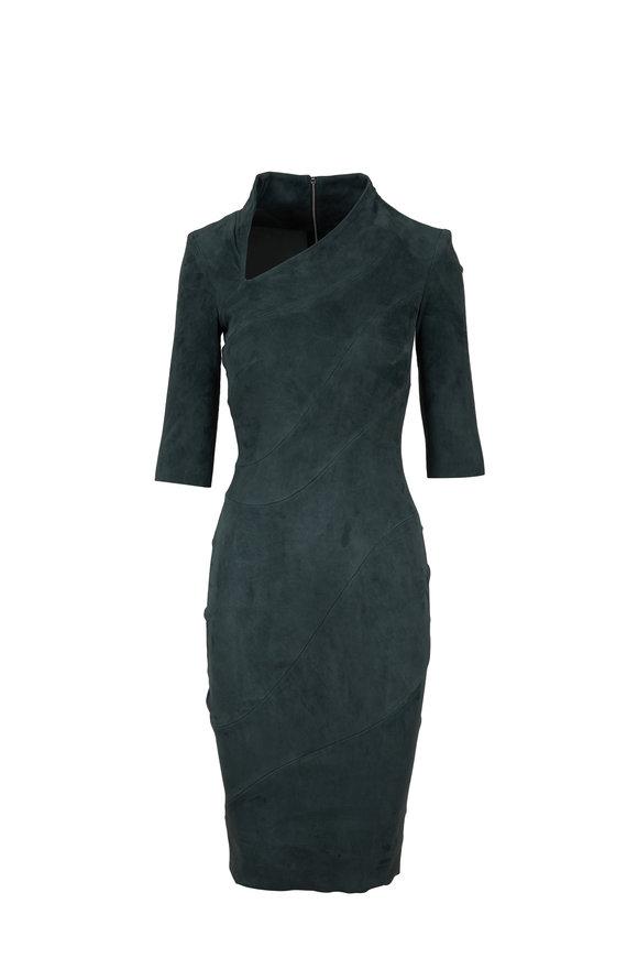 Jitrois Green Suede Slash Neck Dress