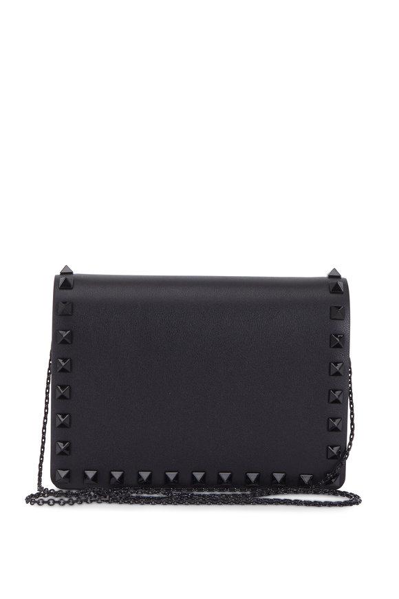 Valentino Garavani Rockstud Black Leather Small Chain Pouch Bag