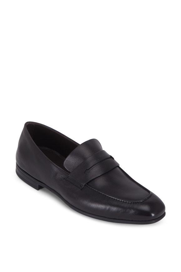 Ermenegildo Zegna L'asola Black Soft Leather Penny Loafer
