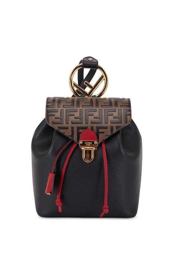 Fendi Black Cruise Leather Logo Small Backpack