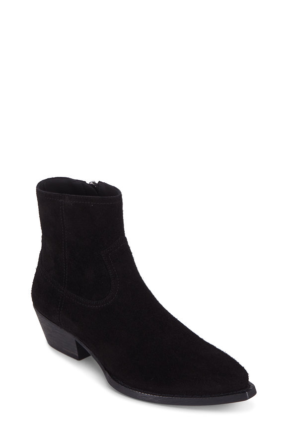 Saint Laurent Lukas Black Suede Bootie, 40mm
