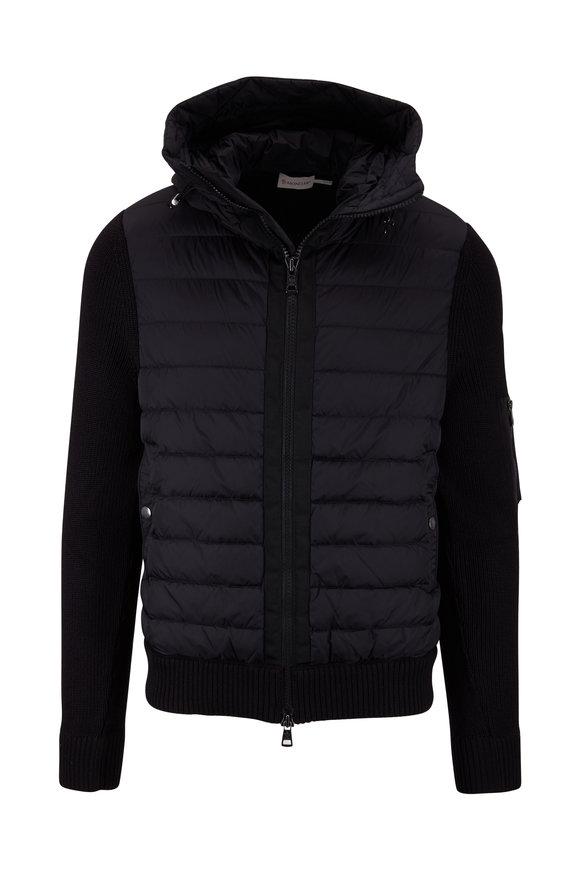 Moncler Black Knit Back Puffer Jacket