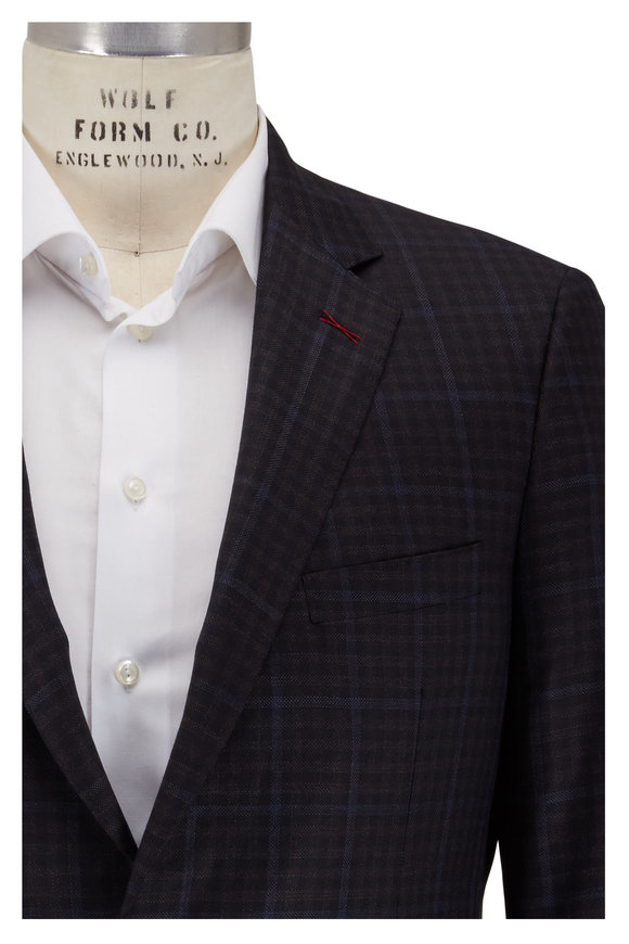 Samuelsohn Navy Blue Faint Plaid Wool Sportcoat
