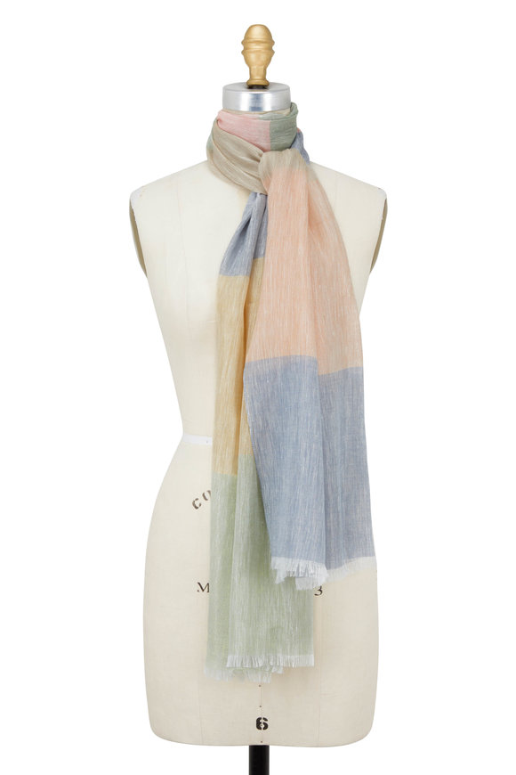 Rani Arabella Blush, Blue, & Green Striped Scarf