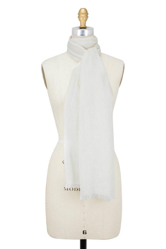 Rani Arabella Ivory Linen & Cashmere Scarf