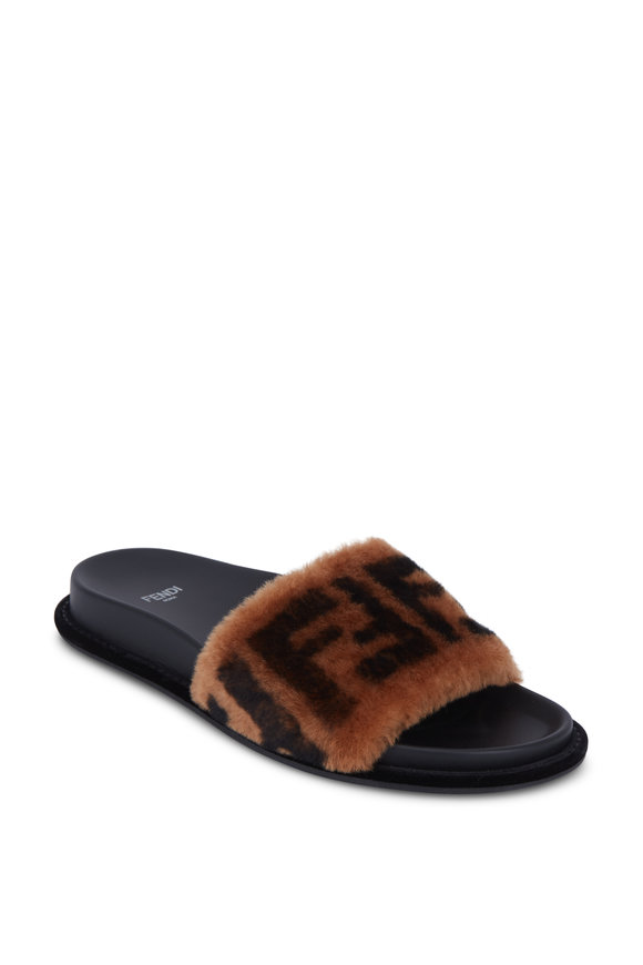 Fendi Brown Shearling FF Slide