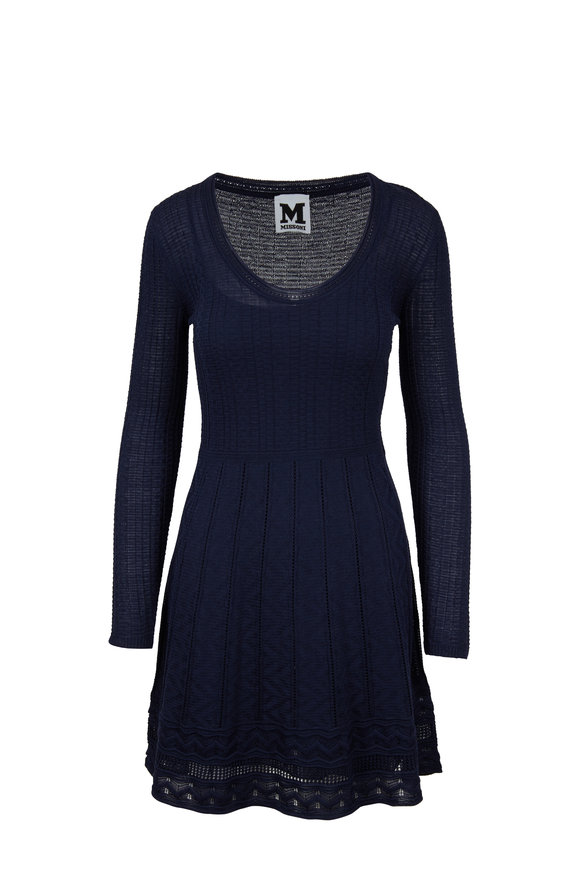 M Missoni Navy Scoop Neck Knit Dress