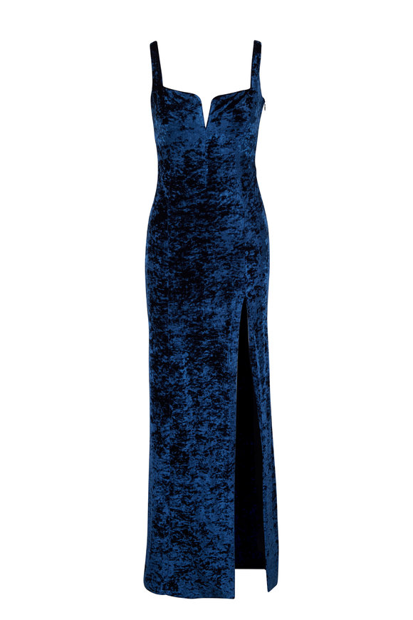 Galvan Solstice Blue Crushed Velvet Corset Top Gown