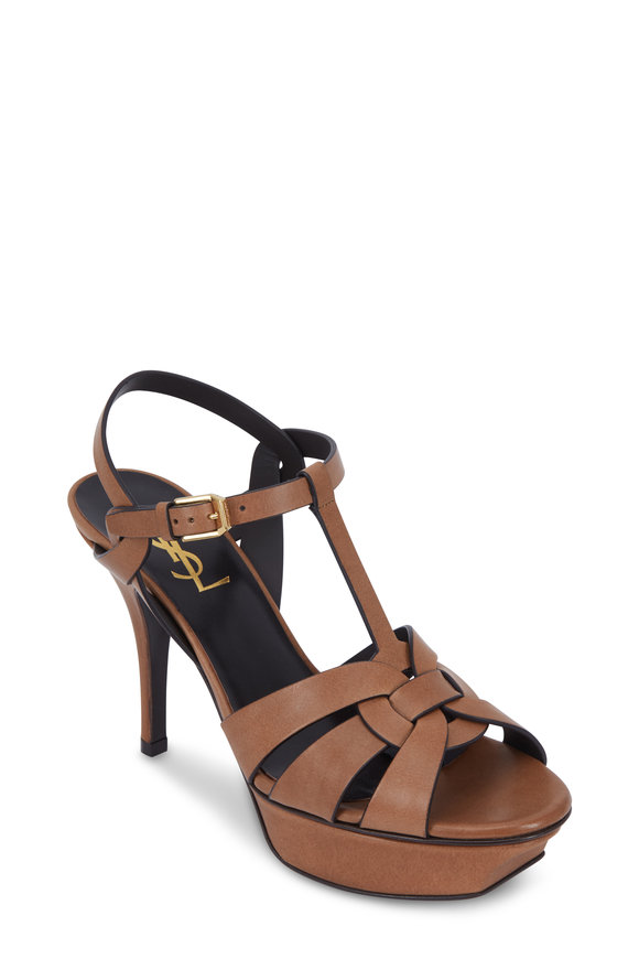 Saint Laurent Tribute Maine Safari Leather Sandal, 75mm