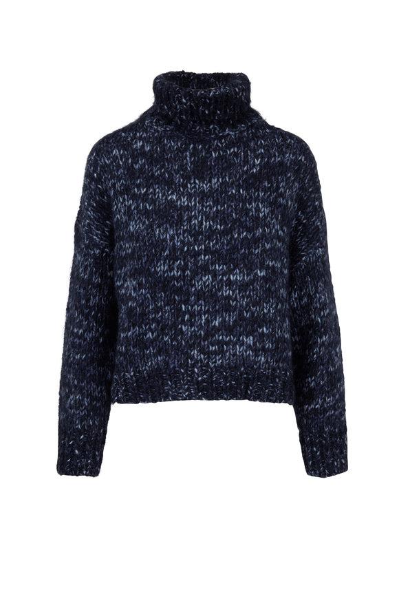 Brunello Cucinelli Midnight Mohair Turtleneck Sweater
