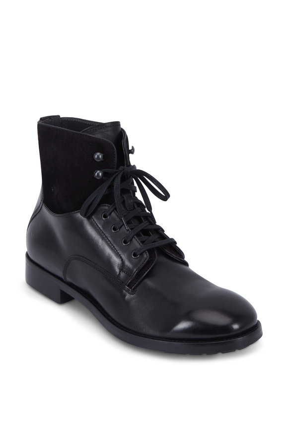 To Boot New York Abbott Black Mix-Media Lace-Up Boot